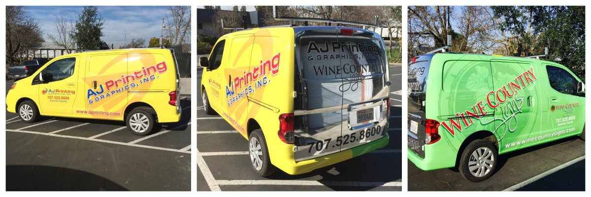AJ printing and graphics, Wine COuntry Signs, vehicle wraps, full body vinyl wraps, two sided van, advertising, marketing, professional printing, large format printing, affordable vehicle wraps, experienced wraps, higher sales, small business marketing