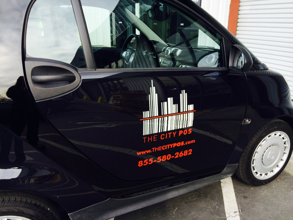 The City POS, San Francisco, Smart Car vehicle graphic, marketing, advertising, POS systems, easy and durable graphics, graphic design