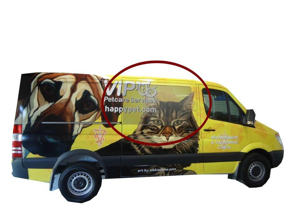 VIP Pet Care, preforated window graphics, vehicle wraps, van wraps, graphic design, windowless wraps, wide format printing, professional printing, digital printing, vinyl vehicle wraps, durable wraps, 3M wraps,