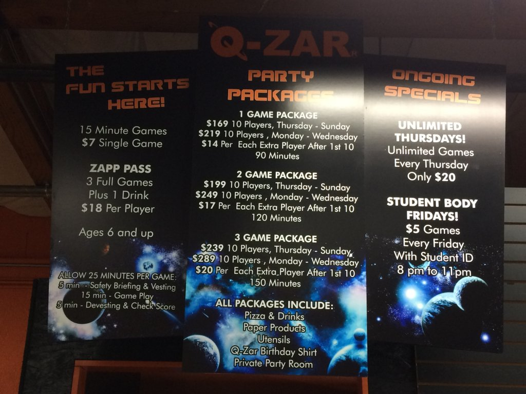 New Location Signs for Q-Zar Laser Tag | Wine Country Signs